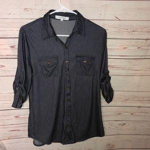 Eden & Olivia Button Up  Denim Style Shirt Size S